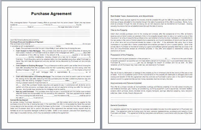 Microsoft Word Contract Template New Purchase Contract Template Microsoft Word Templates