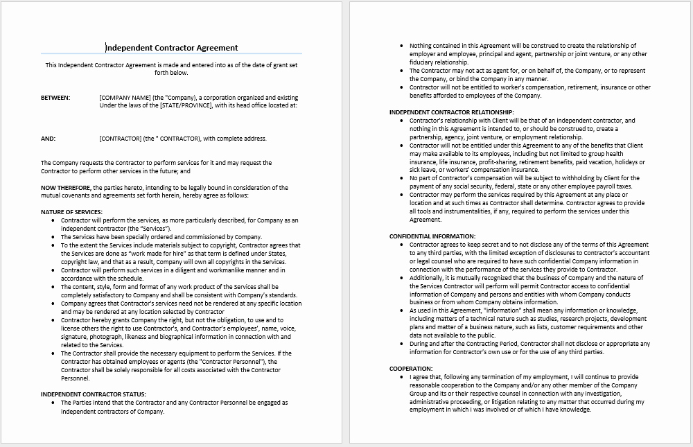 Microsoft Word Contract Template Unique Independent Contractor Agreement Template Microsoft Word