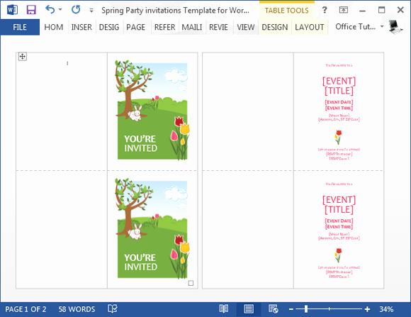 Microsoft Word Invitation Template Elegant Spring Party Invitation Template for Word