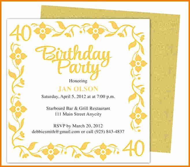 Microsoft Word Invitation Template Luxury Birthday Invitation Template Word