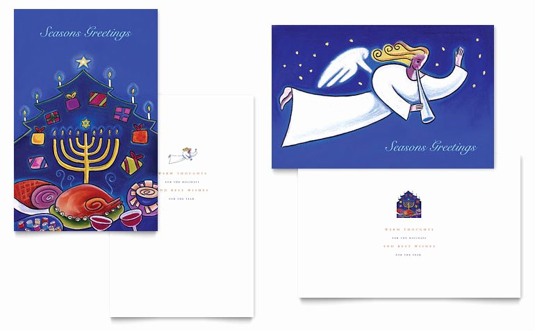 Microsoft Word Postcard Template Beautiful Holiday Seasons Menorah Greeting Card Template Word
