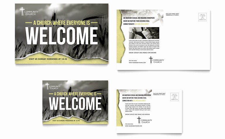 Microsoft Word Postcard Template Inspirational Bible Church Postcard Template Word & Publisher
