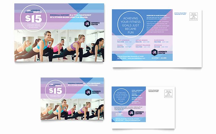 Microsoft Word Postcard Template New Aerobics Center Postcard Template Design
