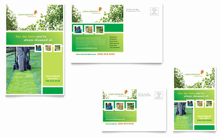 Microsoft Word Postcard Template Unique Lawn Mowing Service Postcard Template Word & Publisher