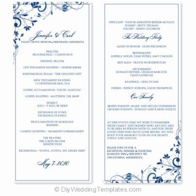 Microsoft Word Program Template Awesome Wedding Program Template Instant Download Edit