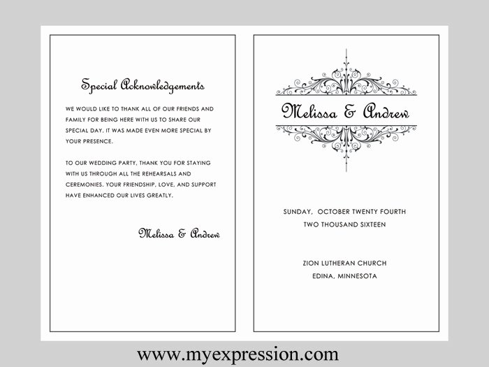 Microsoft Word Program Template Best Of Wedding Program Template Vintage Filigree Instant Download