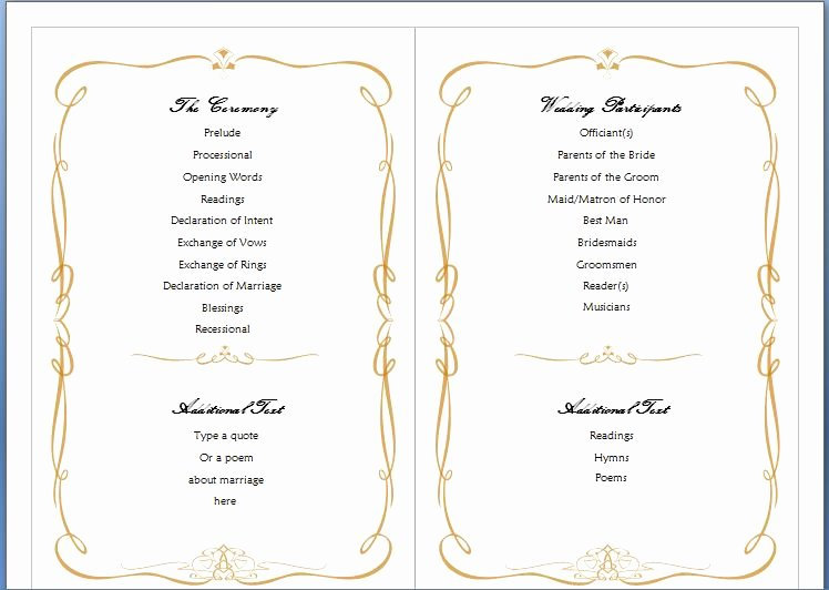 Microsoft Word Program Template Elegant Wedding Program Template Word