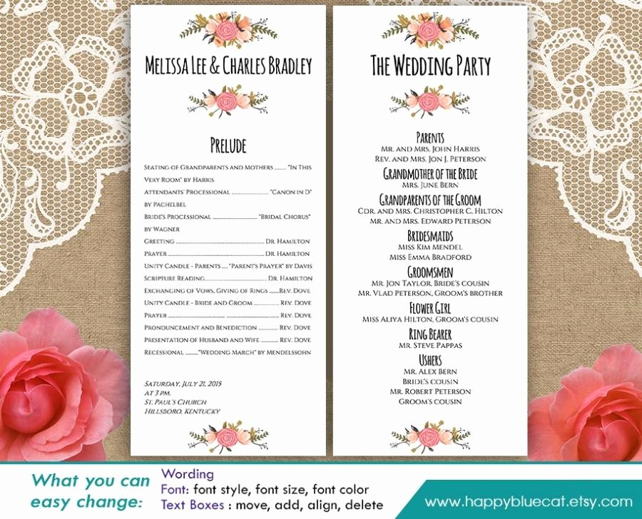 Microsoft Word Program Template Fresh Diy Printable Program Wedding Template Instant Download