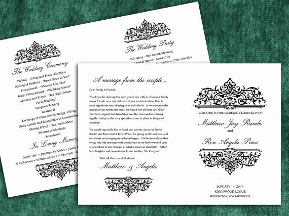 post half fold wedding program template
