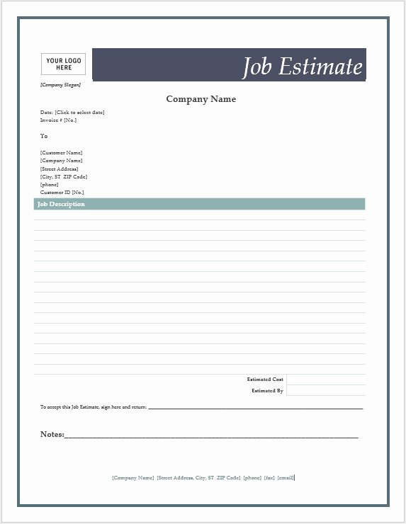 Microsoft Word Quote Template Fresh Free Job Estimate forms – Microsoft Word Templates