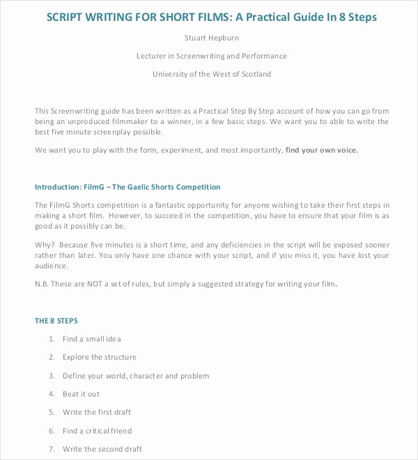 Microsoft Word Screenplay Template Beautiful Script Writing Template – 8 Free Word Pdf Documents