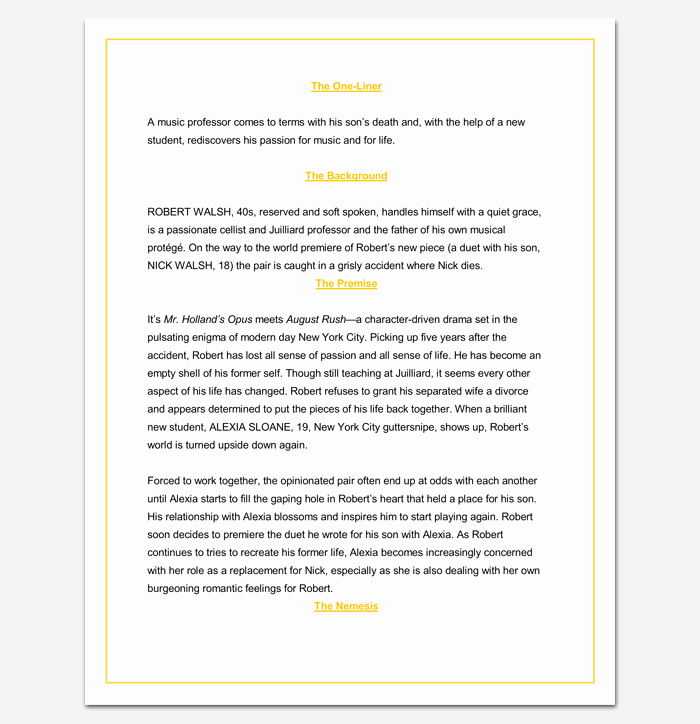 Microsoft Word Screenplay Template Luxury Screenplay Outline Template 9 Worksheets for Word Pdf