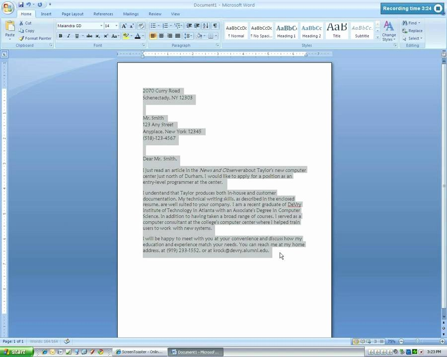 Microsoft Word Screenplay Template New Microsoft Word 2007 Business Letter Tutorial4