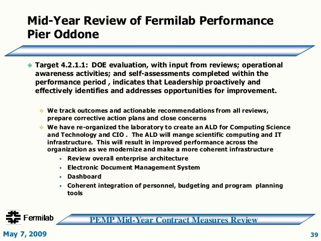 Mid Year Review Template Fresh Doe Fy2009 Fnal Mid Year Review Slide Presentation