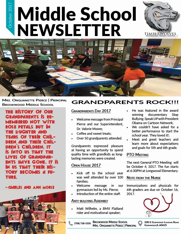 Middle School Newsletter Template Beautiful Bms