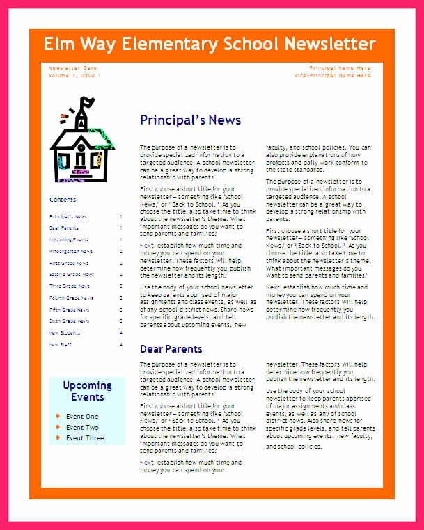 Middle School Newsletter Template Best Of School Newsletter Templates