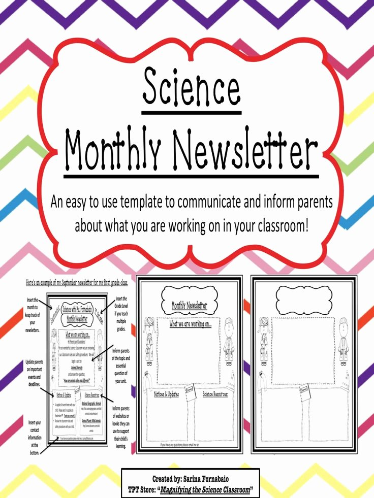 Middle School Newsletter Template Best Of Science Monthly Newsletter Editable Templates