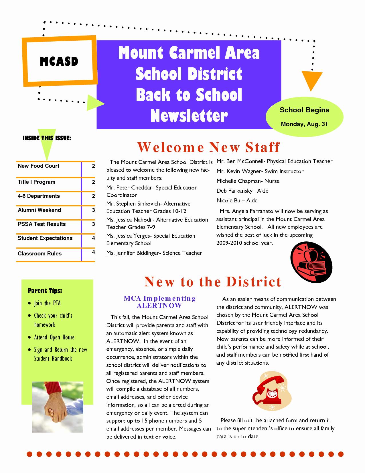 Middle School Newsletter Template Elegant Best S Of Sample School Newsletter Templates Free