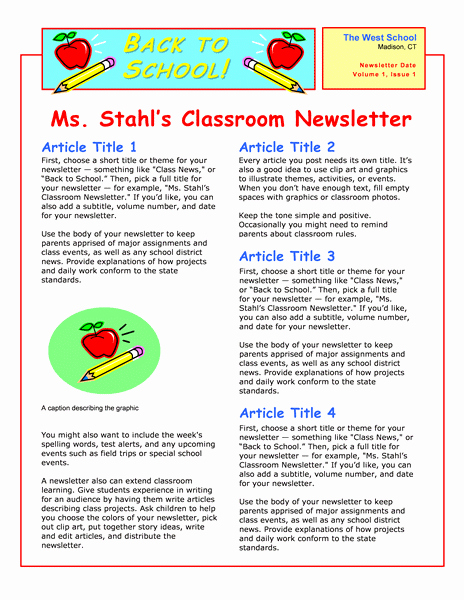 Middle School Newsletter Template Luxury Love This Template In Microsoft Word for A Back to School
