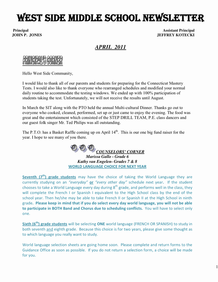 Middle School Newsletter Template New Middle School Newsletter Template In Word and Pdf formats