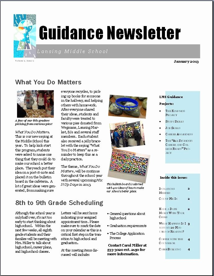 Middle School Newsletter Template New School Counselor Newsletter Ideas February 2013 the Middle