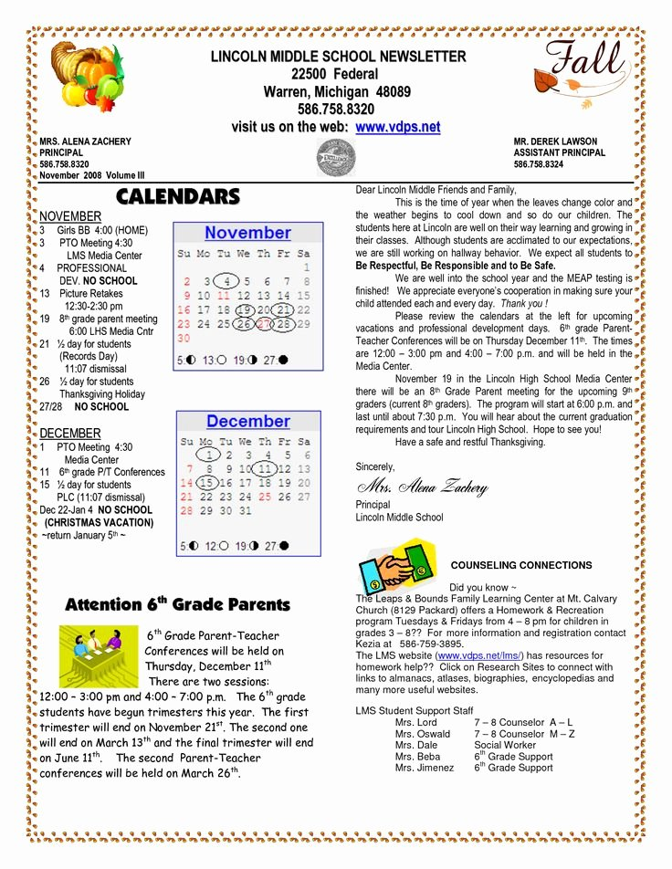 Middle School Newsletter Template New School Newsletter Templates