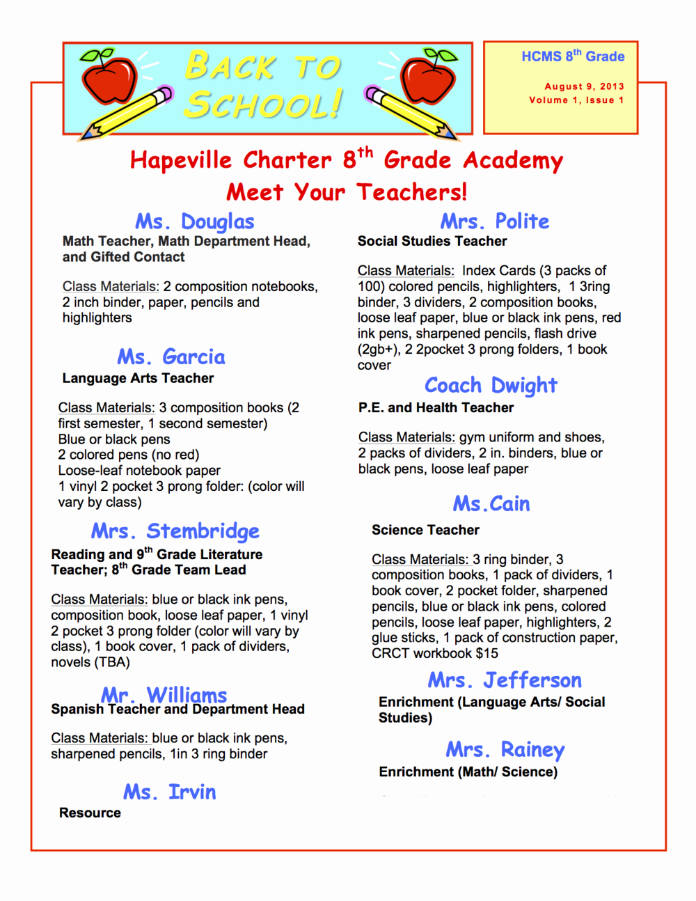 Middle School Newsletter Template Unique Back to School — Hapeville Charter Middle School