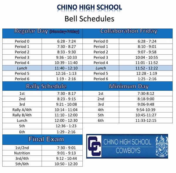 Middle School Schedule Template Awesome High School Bell Schedule Template Dimmitt isd Bell
