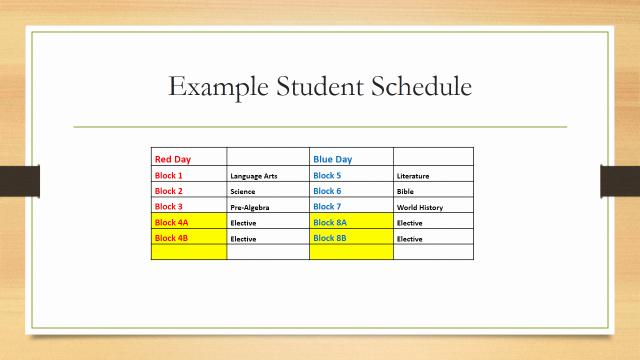 Middle School Schedule Template Elegant Block Scheduling for 2014 2015