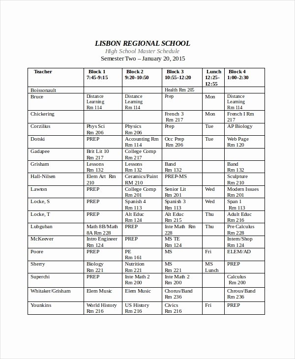 Middle School Schedule Template Lovely Master Schedule Template 11 Free Word Pdf Documents
