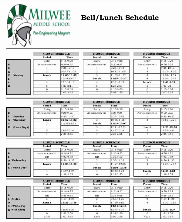 Middle School Schedule Template New 13 Lunch Schedule Samples and Templates – Pdf Word