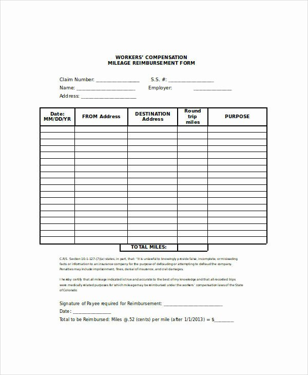 Mileage Reimbursement form Template Elegant 26 Sample Claim forms In Word