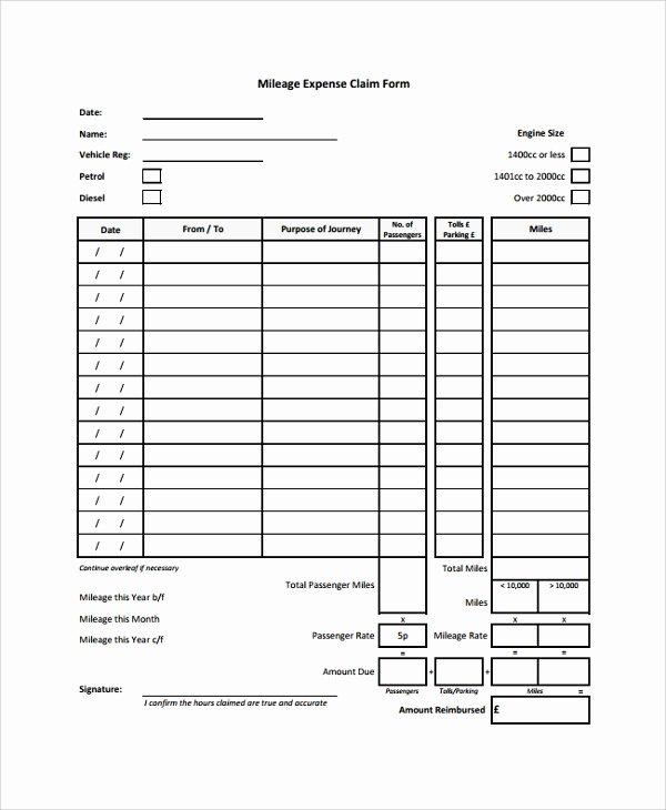 Mileage Reimbursement form Template Fresh 8 Sample Expense forms