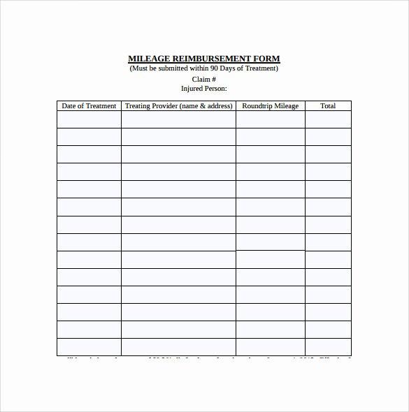 Mileage Reimbursement form Template Inspirational Sample Mileage Reimbursement form 8 Download Free