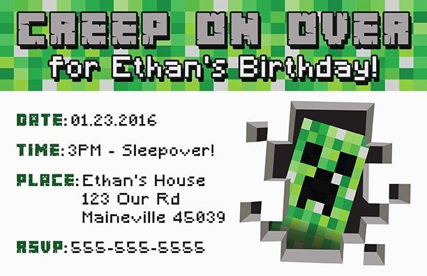 Minecraft Birthday Invitation Template Awesome Free Minecraft Printable Invitation