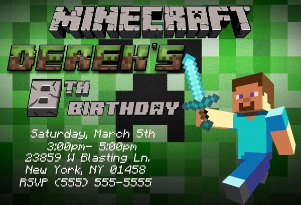 Minecraft Birthday Invitation Template Beautiful 69 Printable Birthday Invitation Templates Word Psd