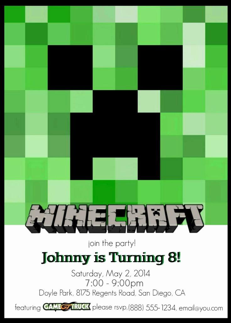 Minecraft Birthday Invitation Template Elegant Best 25 Minecraft Invitations Ideas On Pinterest