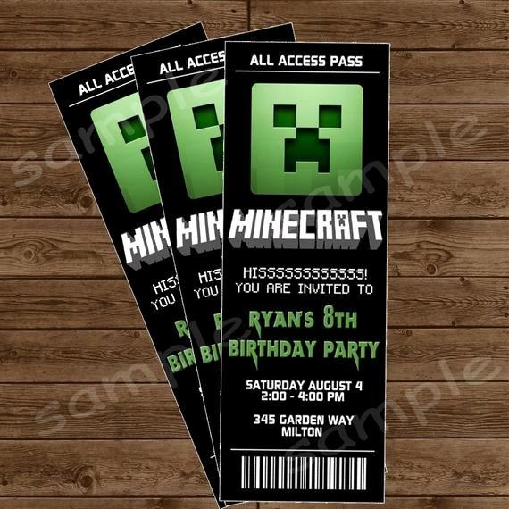Minecraft Birthday Invitation Template Elegant Items Similar to Minecraft Ticket Invitation Minecraft