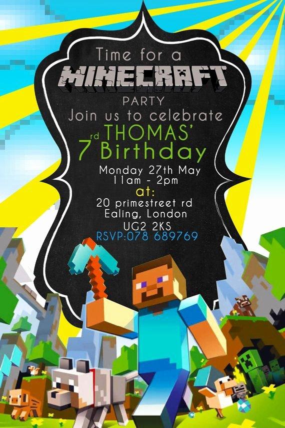 Minecraft Birthday Invitation Template Elegant Minecraft Party Invitation Printable Minecraft by