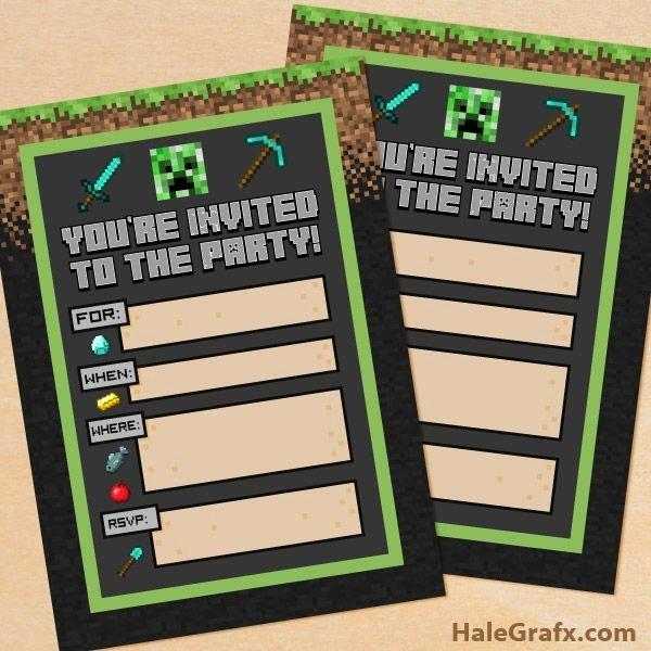 Minecraft Birthday Invitation Template Inspirational Free Printable Minecraft Birthday Party Invitation
