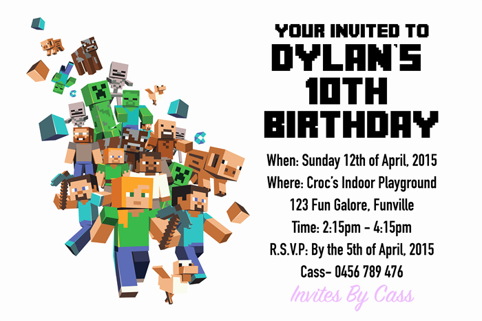 Minecraft Birthday Invitation Template Lovely Minecraft Kids Birthday Party Invitations