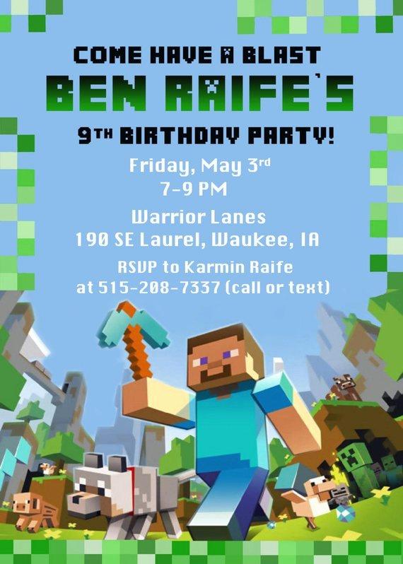 Minecraft Birthday Invitation Template Luxury Minecraft Birthday Party Invitation Digital by Funpartyprints