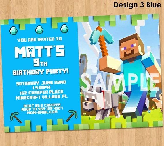 Minecraft Birthday Invitation Template New Minecraft Invitation Minecraft Birthday by Lcdesigns615 On