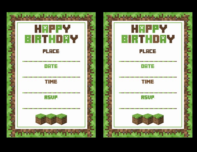 Minecraft Birthday Invitation Template Unique Free Minecraft Printables