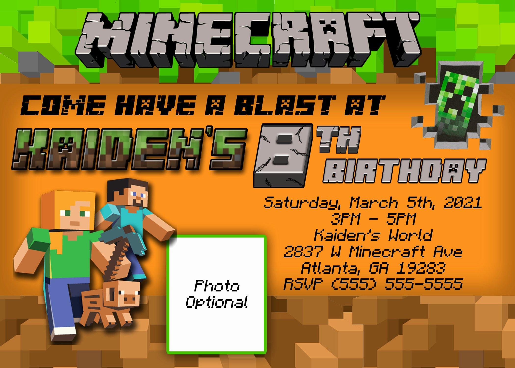 Minecraft Birthday Invitation Template Unique Minecraft Birthday Invitation