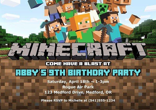 Minecraft Birthday Invitation Template Unique Minecraft Birthday Party Invitations