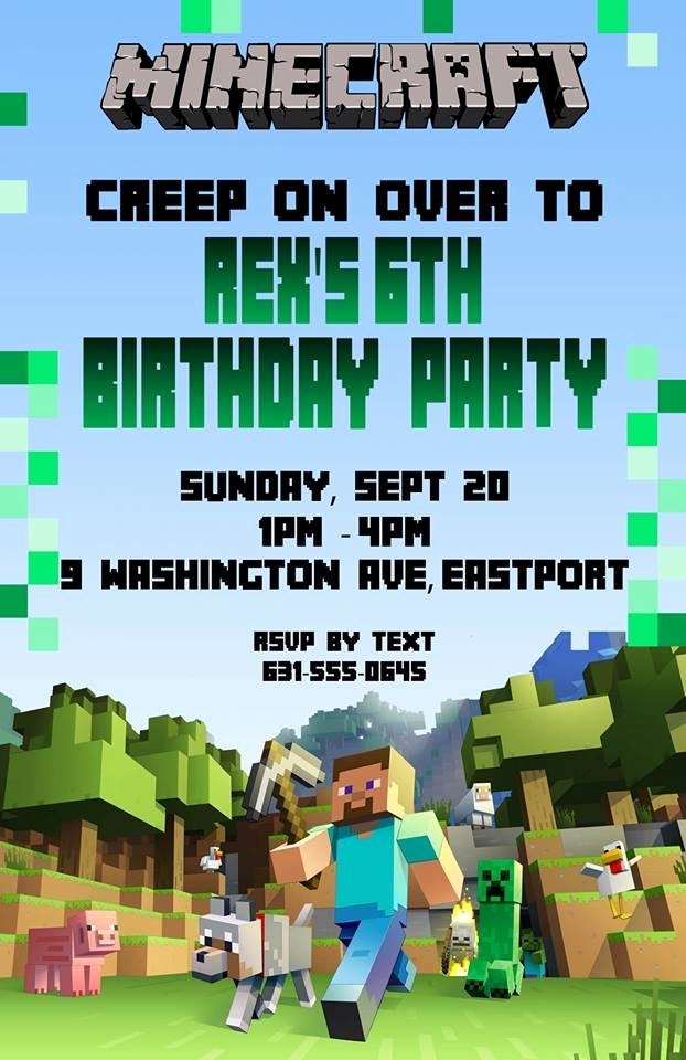 Minecraft Birthday Invite Template Awesome Birthday Invitation Minecraft theme