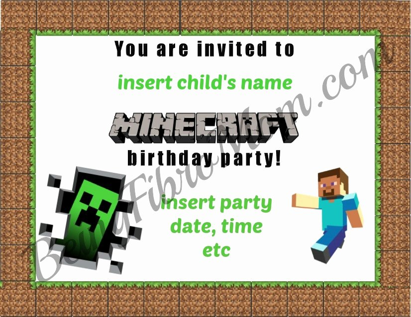Minecraft Birthday Invite Template Awesome Minecraft Birthday Party Printables Decorations and Food