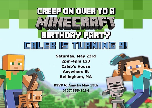 Minecraft Birthday Invite Template Beautiful Minecraft Birthday Party Invitations