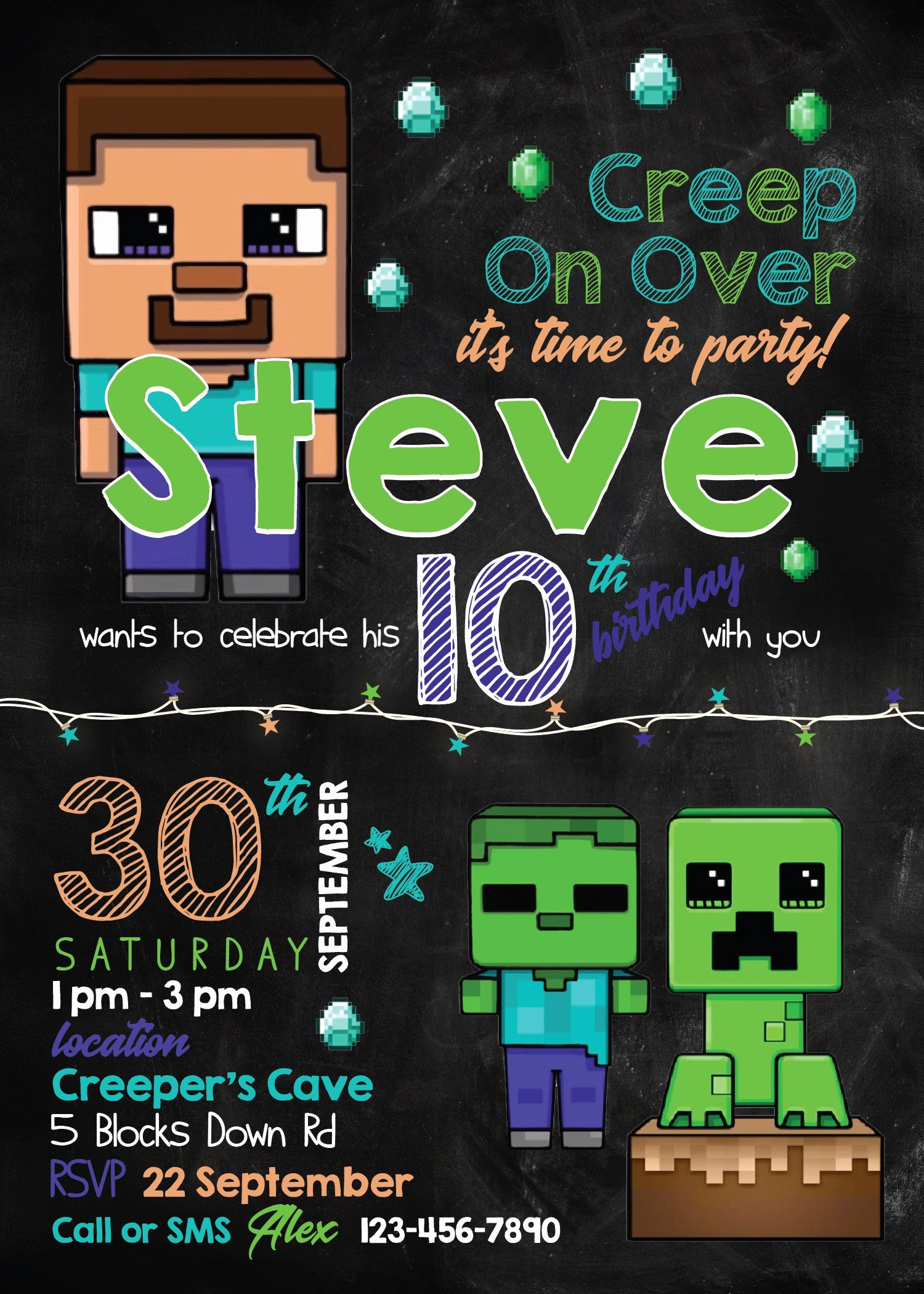 Minecraft Birthday Invite Template Beautiful Minecraft Invitation Template Minecraft Party